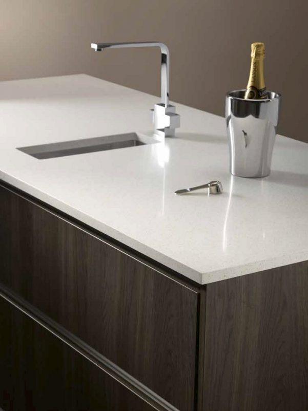 m-stone white gem stone quartz worktop